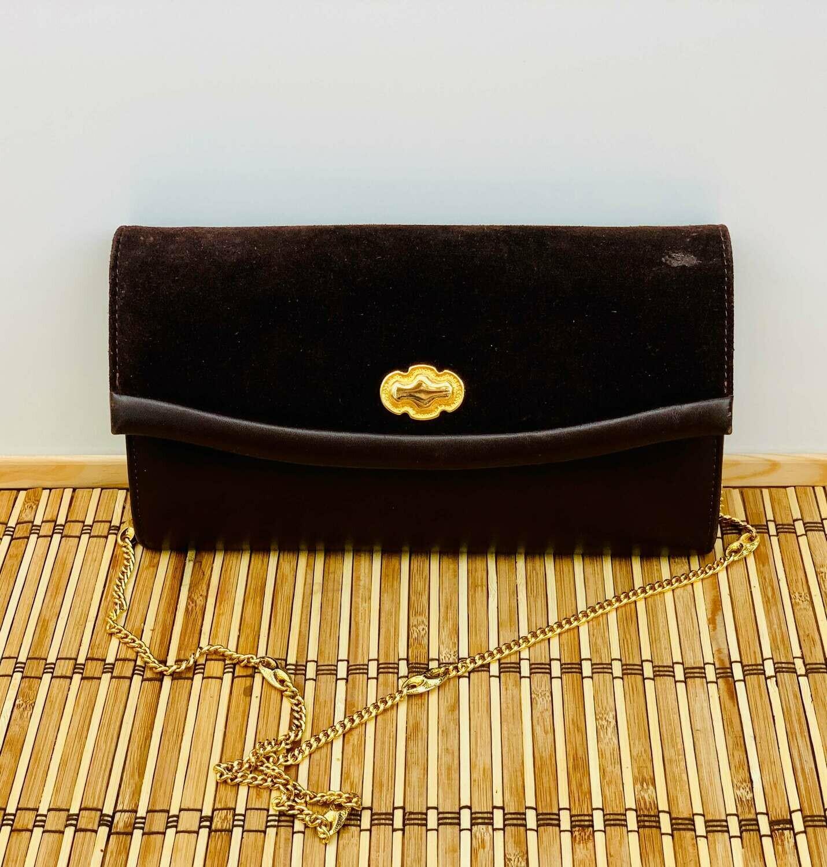Bolso de mano vintage marron con cadenita