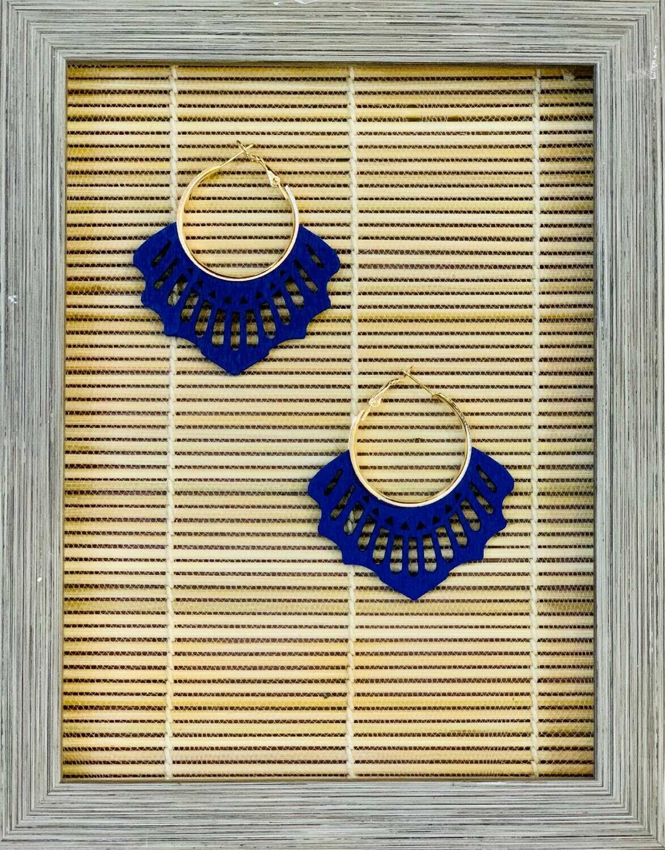 "Pendientes de maderita ""PEINETA"" azul"