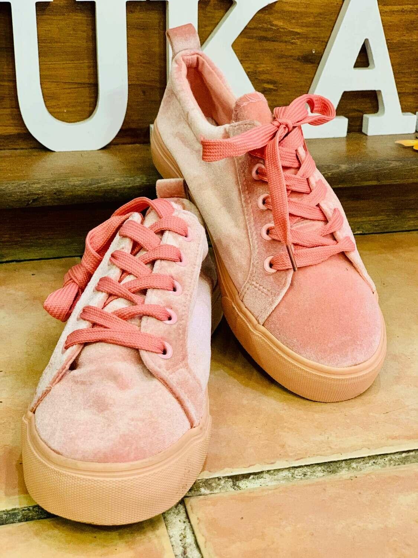 Zapatillas de terciopelo rosa (NUEVO)