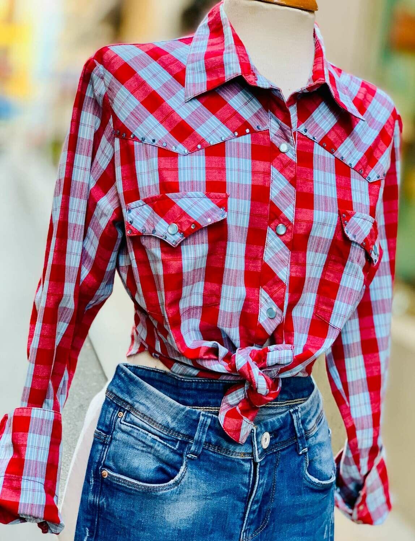 Camisa a cuadros tipo cowboy