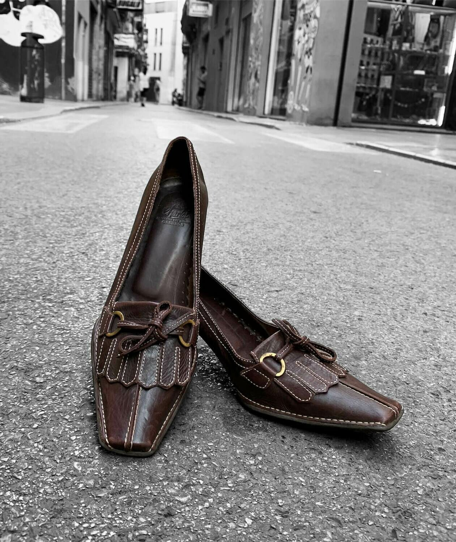 Zapatos de tacón de piel tipo mocasín talla 37