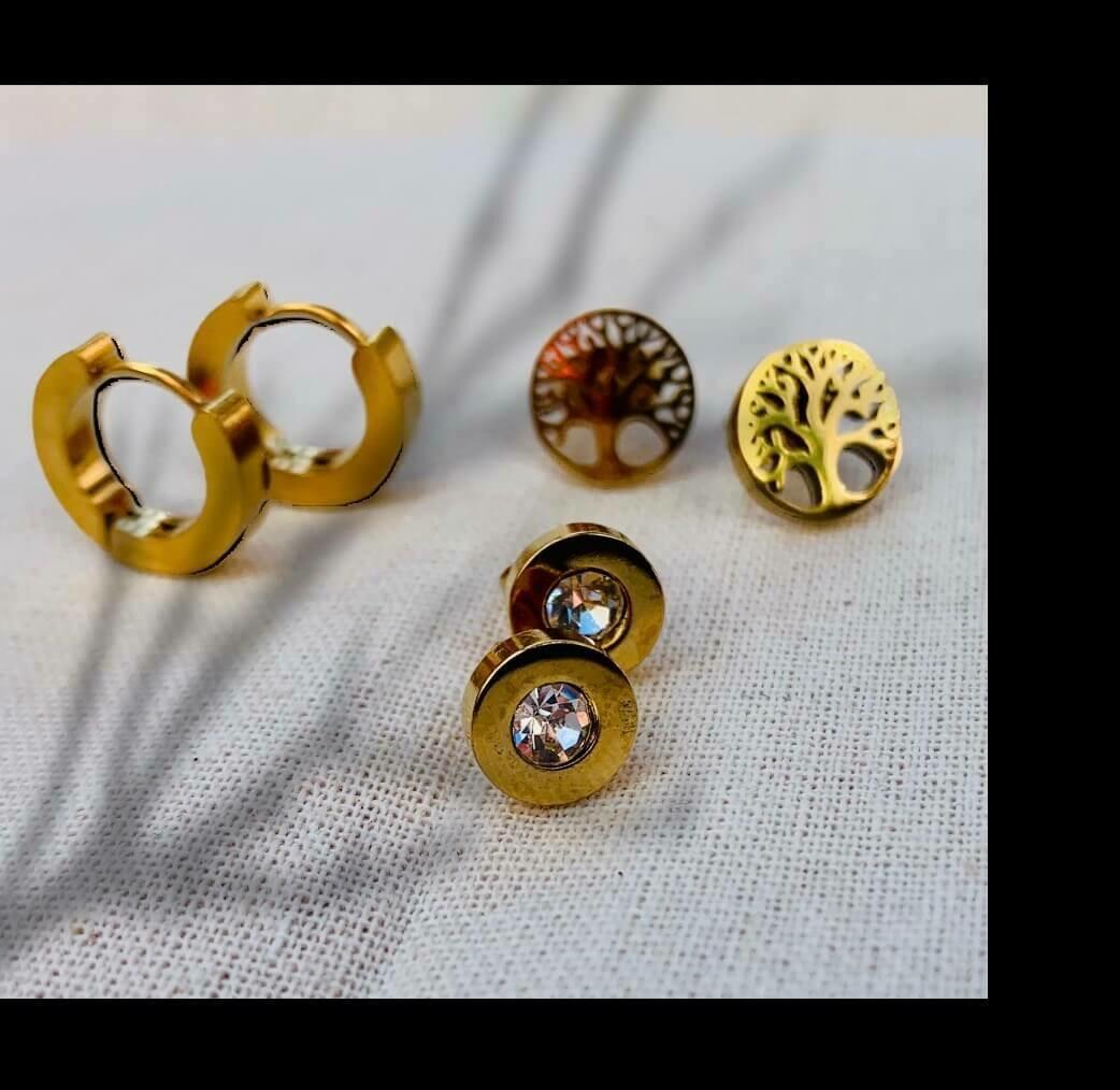 Combi de pendientes de acero gold
