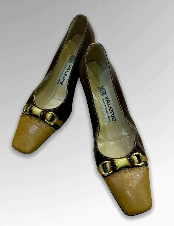 Zapatos de tacón bajo vintage de piel T35
