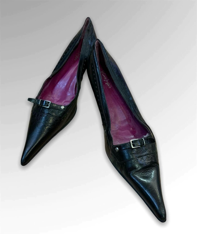 Zapatos de tacón de piel con punta súper larga T39