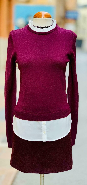 Sweater finito con bajo de camisa