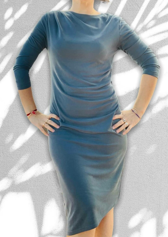 Vestido de punto de algodón con drapeado