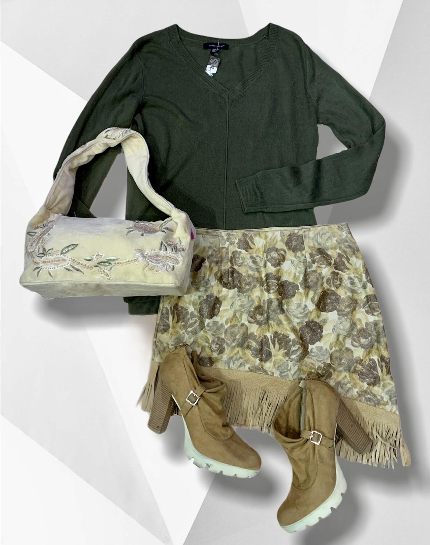 Bolso de hombro de pana con bordados y mostacillas