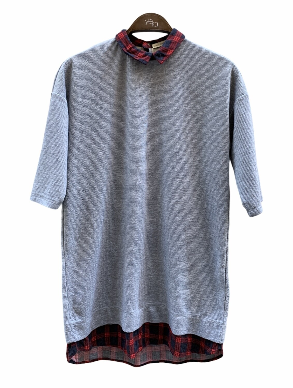 *COMBI 1* Camiseta de manga corta con cuello y bajo de camisa