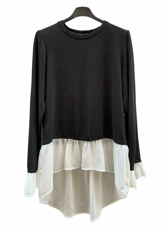 Sweater finito con bajo de blusa