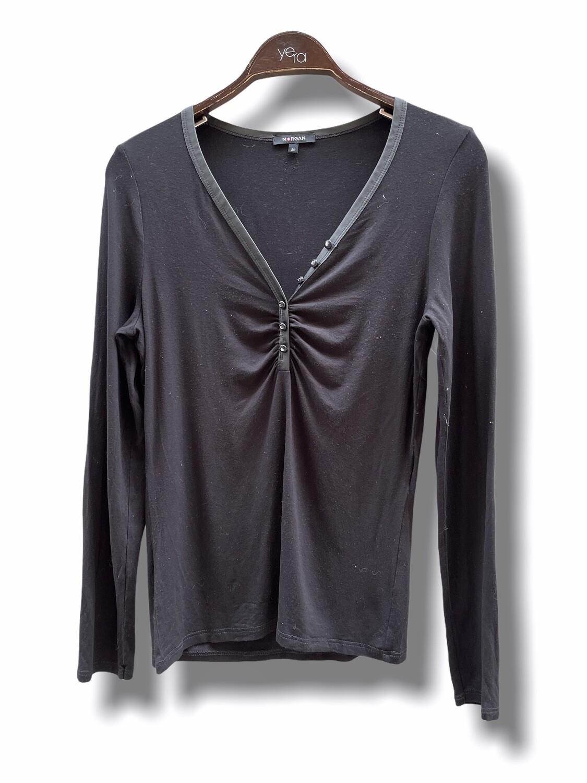 Camiseta de manga larga con escote fruncido