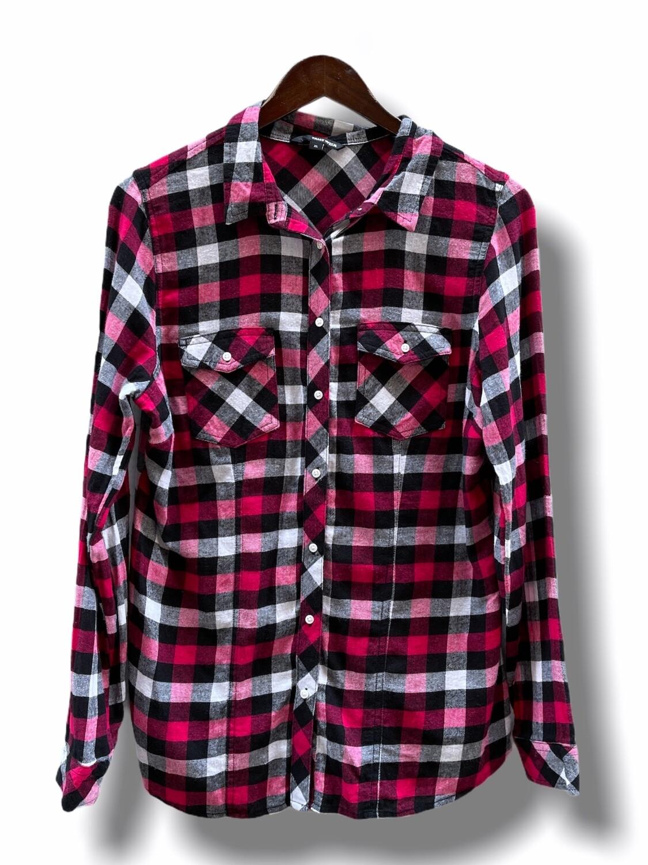 Camisa de cuadritos de franela fina