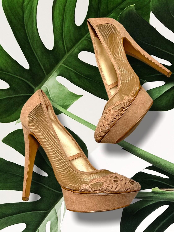Zapatos de tacón de encaje con plataforma T39
