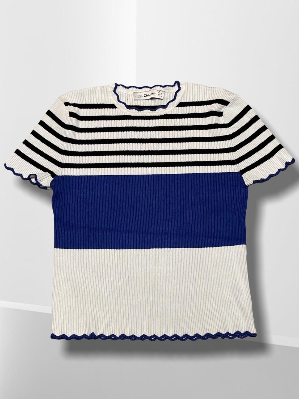 Camiseta de punto de manga corta a rayitas marineras
