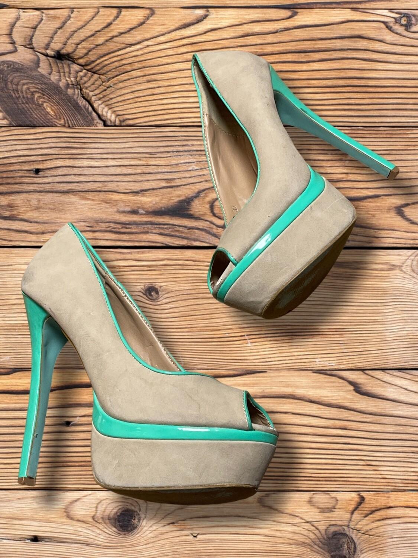 Zapatos de tacón con plataforma beige y turquesa T39