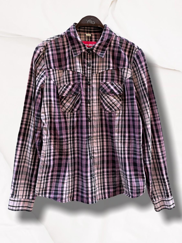 Camisa a cuadros morada