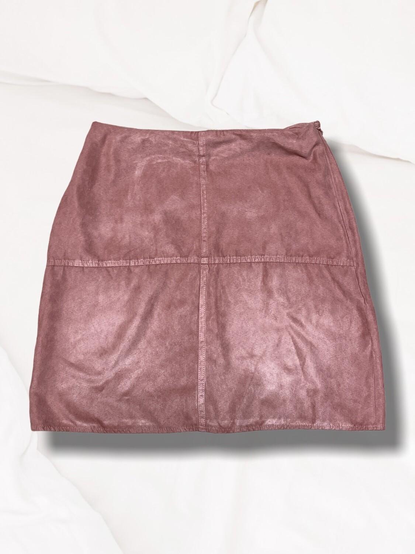 Falda de antelina rosa palo