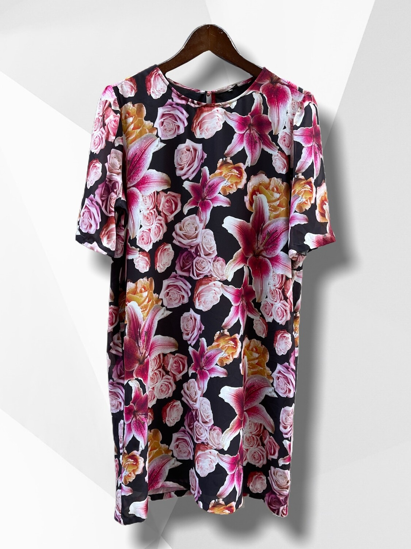 Vestido recto estampado flores