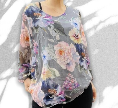 *NEW** Blusa de sedita floreada (TG)
