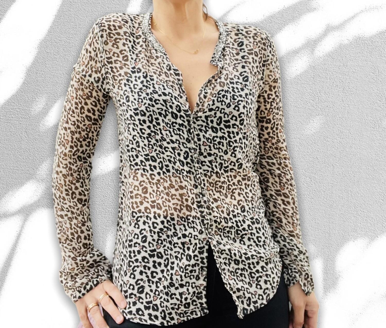 Camisa traslucida animal print