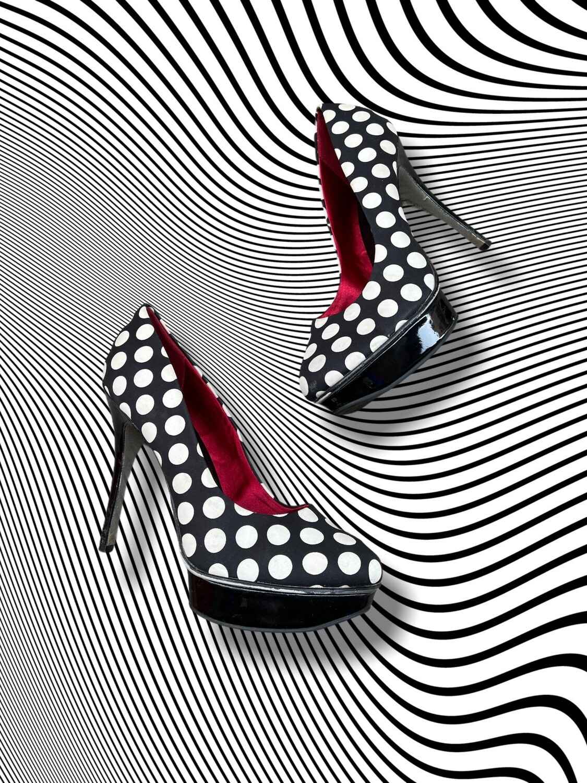 "*COMBI 4* Zapatos de tacón de lunares ""CATWALK"" T39"