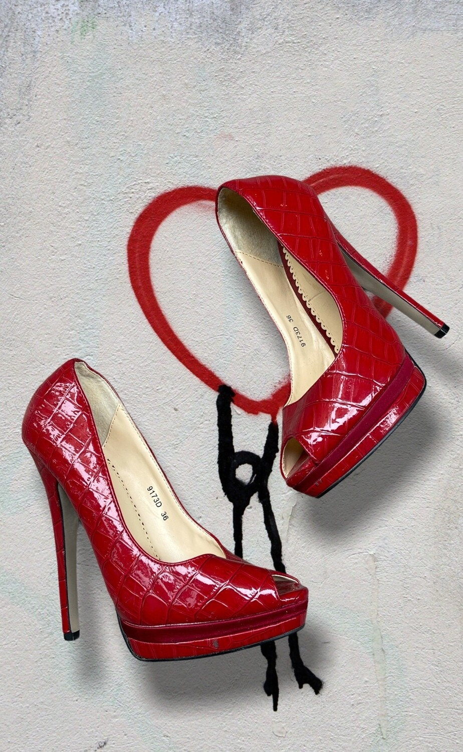 PASSION COLLECTION - Peep toes simil cocodrilo T36