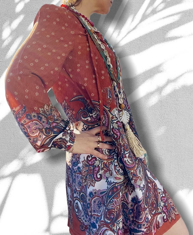 Vestido tipo túnica color teja