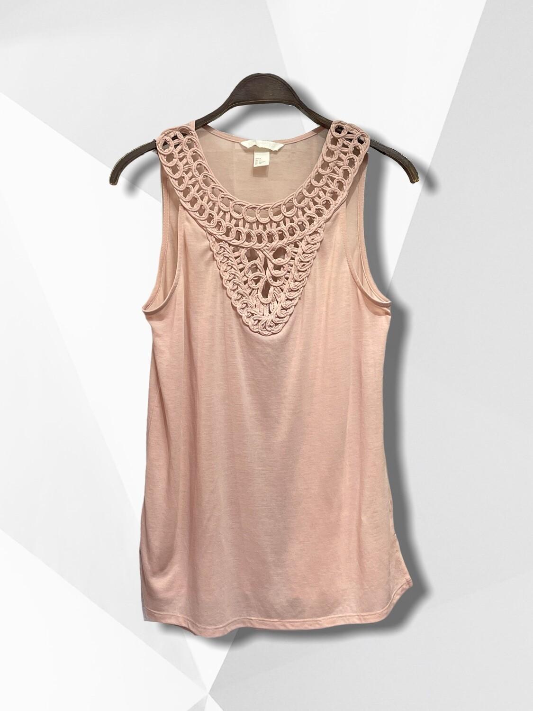 Camiseta sin mangas de algodón con cuello calado