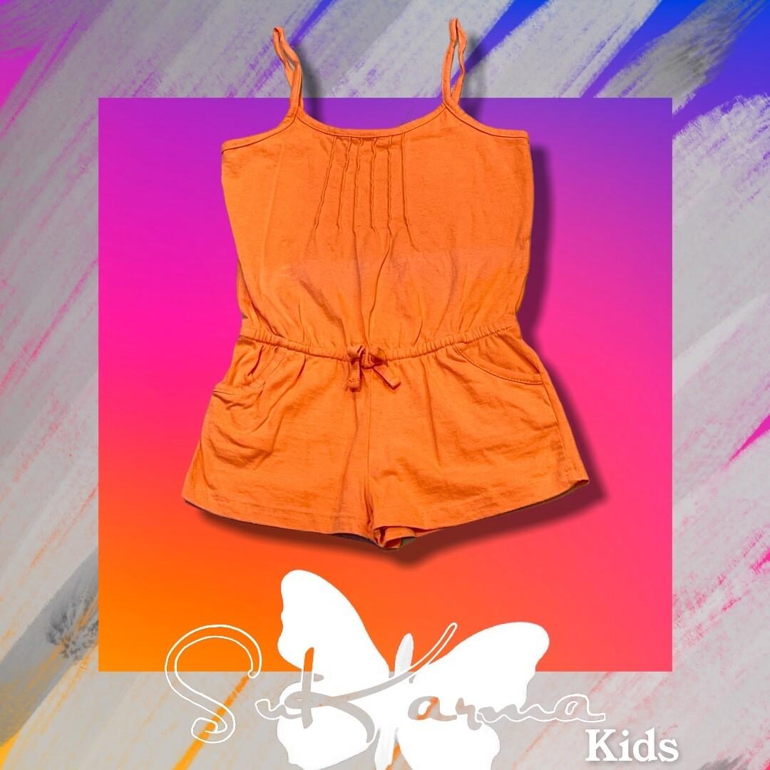 Mono de algodón naranja de niña Talla 6/7 años