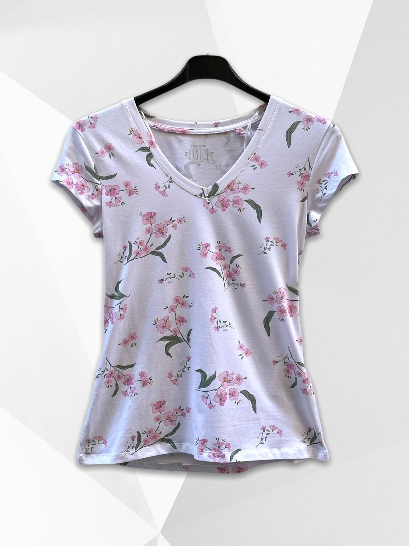 *COMBI 4* Camiseta de manga corta estampado flores con cuello V