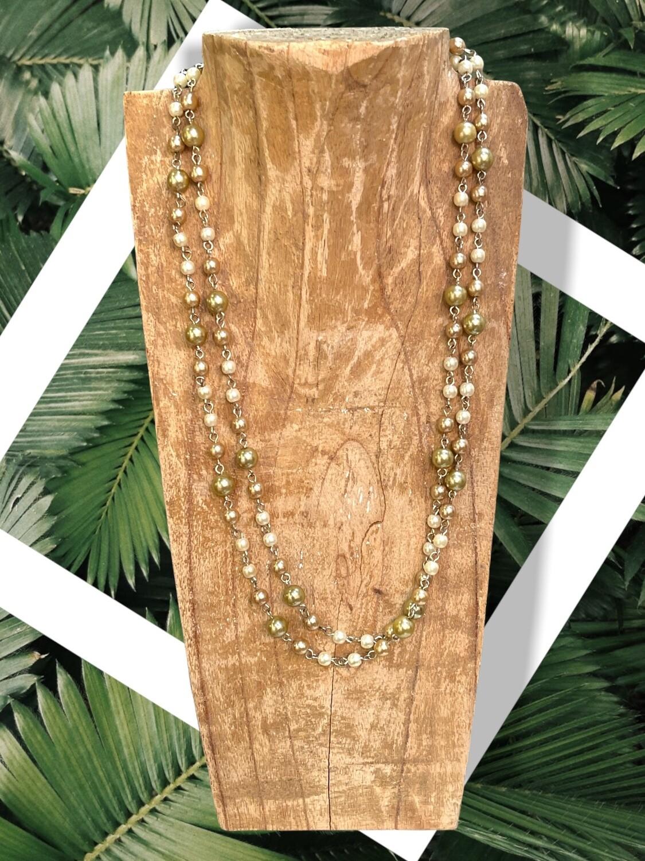 Collar largo vintage perlitas