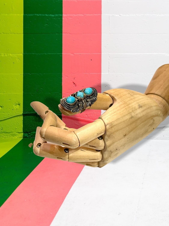 *NEW* Anillo de piedras turquesas regulable