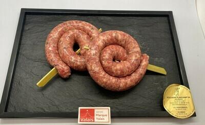 Saucisse à rôtir de porc escargot  Labellisé Marque Valais 150gr