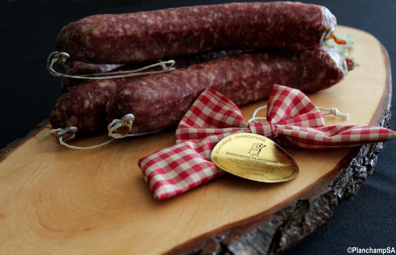 Saucisse crue de porc nature Labellisé Marque Valais