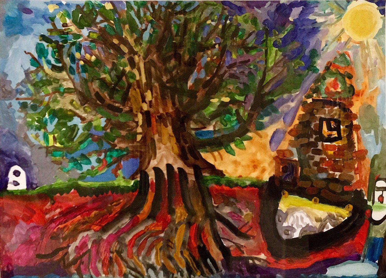 Дерево в саду художника