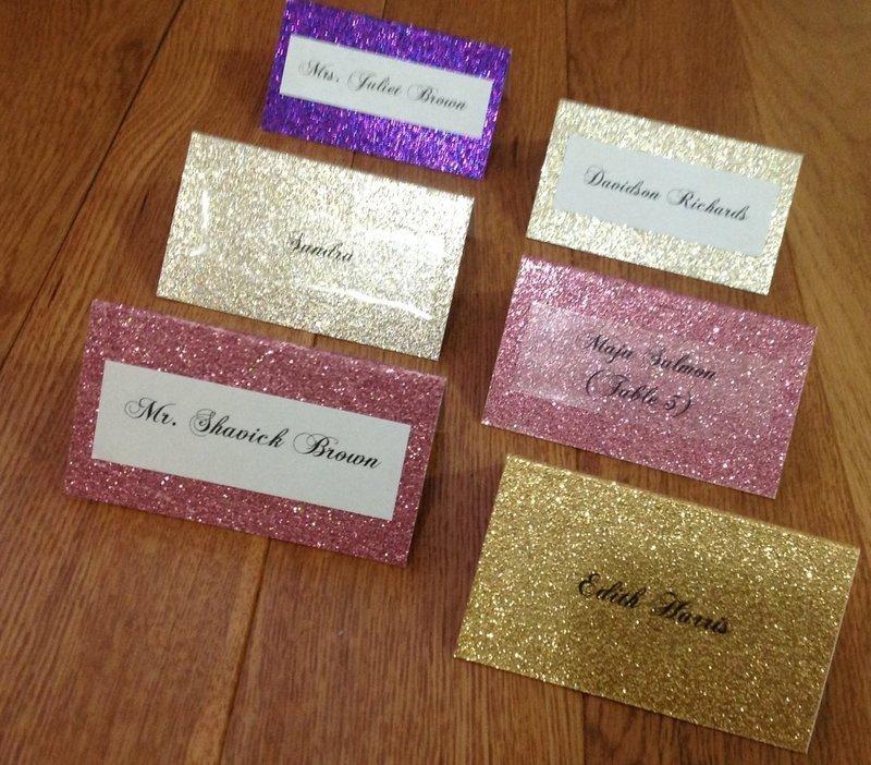 Glitter Sparkle Place Cards, Escort Cards