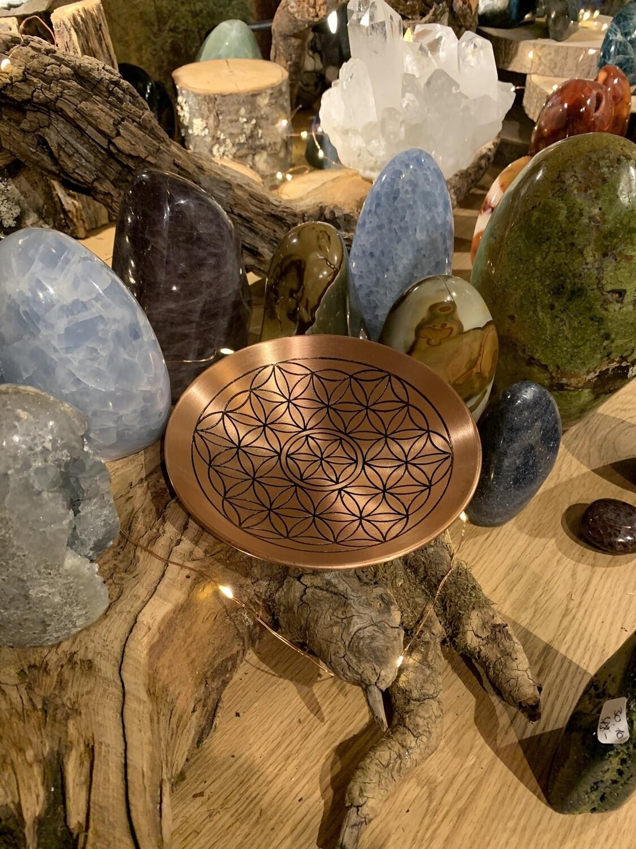 Coupelle fleur de vie En Cuivre pour recharger les pierres