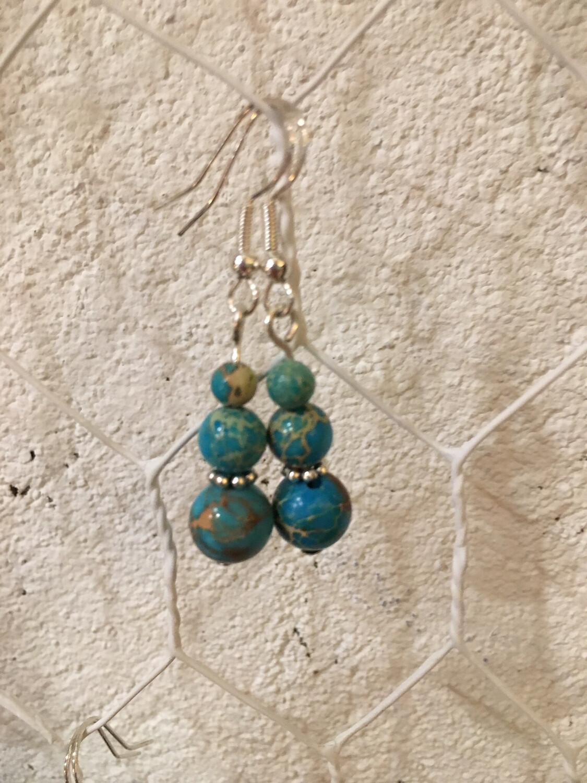 Boucles D'oreilles «Le Calme En Moi» Pierre: Turquoise