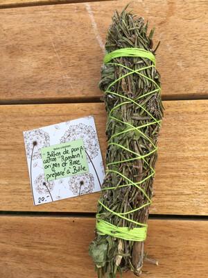 Grand Bâton De Purification «Romarin, Origan Et Rose» Confectionné avec les plantes du Jardin
