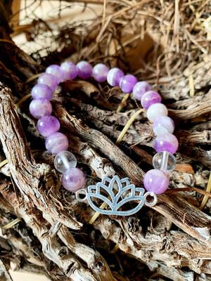 Reliance aux Guides : Amethyste et Cristal de roche avec lotus