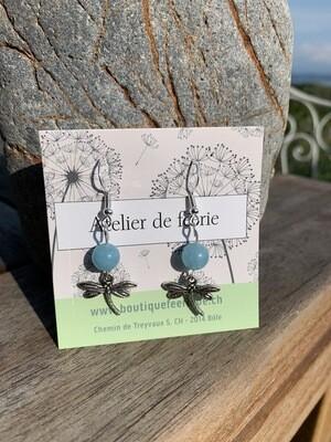 Boucles d'oreilles «envol avec les libellules»