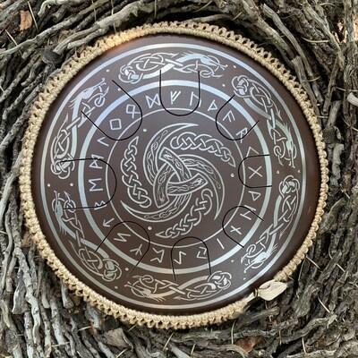 «Sagesse ancestrale» gaia drum avec runes