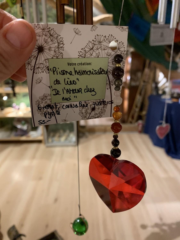 Prisme point or «de l'amour chez moi» grenat, quartz rose, pyrite, cornaline