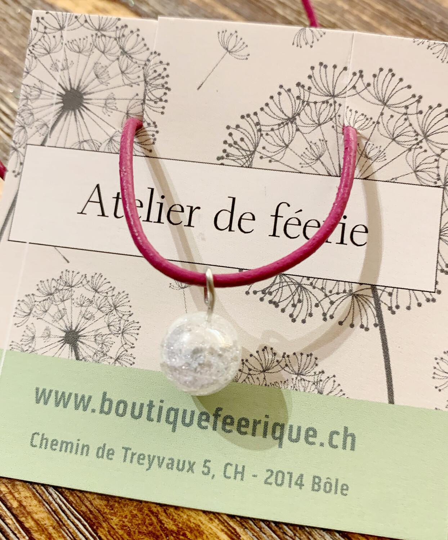 Collier magique et thérapeutique qui appelle les licornes 🦄 «pink» avec cristal de roche «aqua aura»