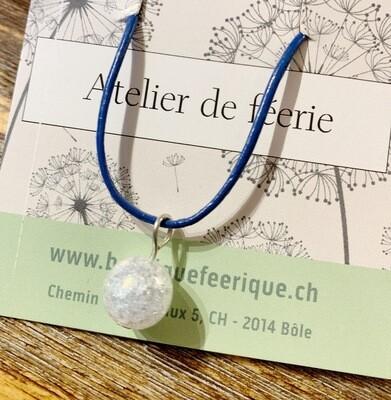 Collier magique et thérapeutique qui appelle les licornes 🦄 «azur» avec cristal de roche «aqua aura»