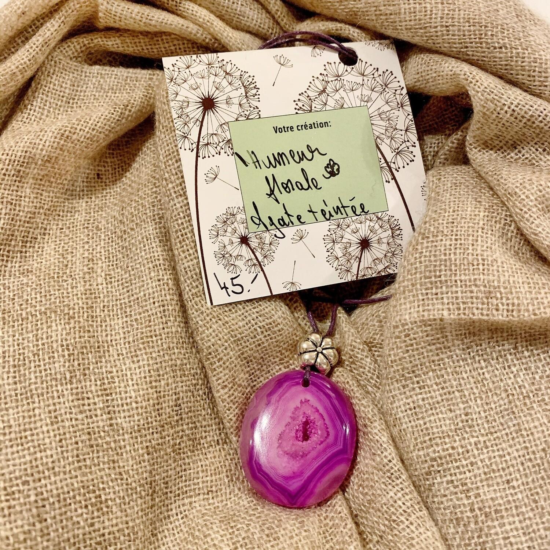 Réservé Mireille «humeur florale» agate teintée en rose