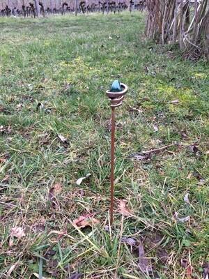 Bâton de terre pour acuponcture avec 5 pierres