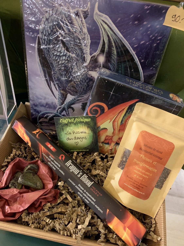 Coffret «la puissance des dragons» avec tableau Dragon, oracle des dragons, tisane phénix, bâtons d'encens dragon et 3 pierres du dragonier.