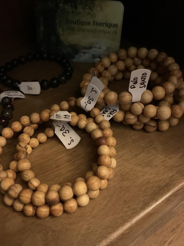 Bracelet de Palo santo (bois sacré de protection) taille des Perles S