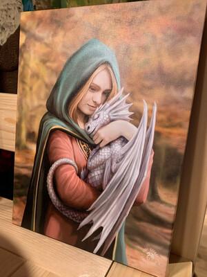 «Câlin au dragon» toile tendue sur cadre, Reproduction d'Anne Stokes , 25x19cm