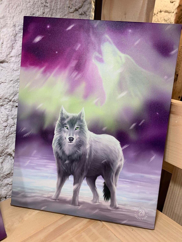 «Loup totem» toile tendue sur cadre, Reproduction d'Anne Stokes , 25x19cm